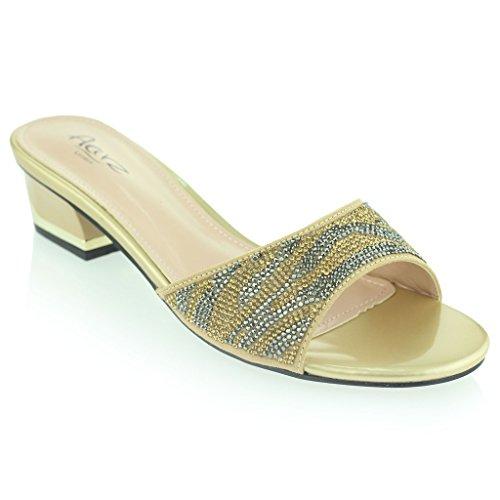 Mujer Señoras Brillante Ponerse Diamante Medio Tacón De Bloque Noche Fiesta Prom Sandalias Zapatos Tamaño Oro