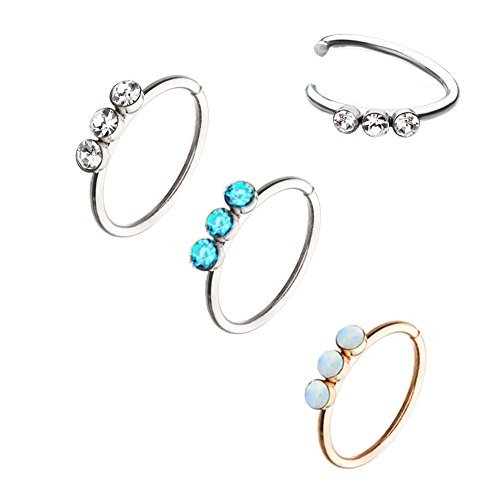 Pack of 3pcs18g 5/16 Stainless Steel Split Nose Rings with Triple CZ Opal Gem (option ()