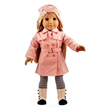 """Ebuddy Hat+long Coat+waistband+stocking,Pink Color American Style Trench Coat Uniform Outfit Clothes for 18"""" Girl Doll,Chirstmas Birthday Gift Present"""