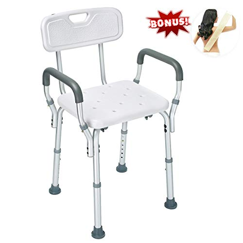 Health Line Shower Chair Bath Seat Bench with Removable Back &Arms, Tool-Free Assembly, Adjustable Height, w/ Non-Slip Feet & Bonus Loofah Back Scrubber