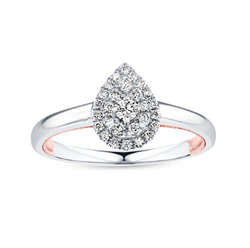 Life More Dazzling 10K White Gold Pear Shape Diamond Ring & Rose Gold Milgrain Heart (1/4CTW, I2 Clarity) ()