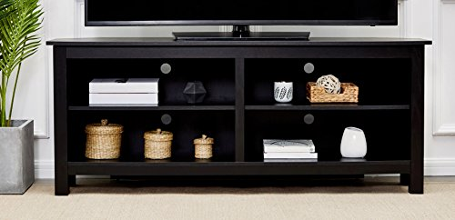 Rockpoint Sumy 58-Inch Corner Wood TV Stand Storage Console, Piano Black