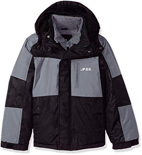 London Fog Boys' Big Mid-Length Winter Coat Jacket, Real Black, 10/12