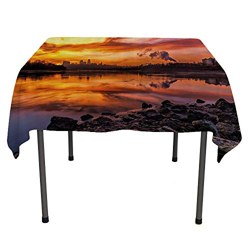 Landscape, Table Cover Spillproof TableclothUsa Missouri Kansas City Scenery of a Sunset Lake Nature Camping Themed Art Photo, for Dining Room, 54x54 Inch Multicolor -