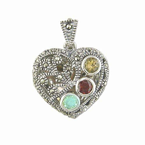 (The Olivia Collection TOC Sterling Silver Marcasite & Coloured Crystals Puffed Heart Locket, 18
