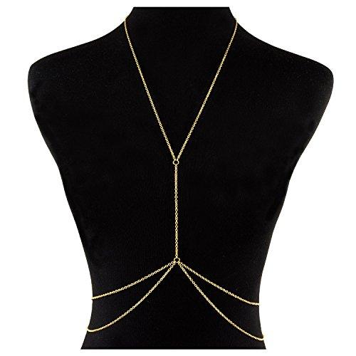 BaubleStar Sexy Belly Chain for Waist Bikini Body Chain Art Jewelry Fashion Beach Pendant Layering Necklace Gold For Women Girl