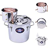 Seeutek LS3 Moonshine Still Spirits Water Alcohol Distiller Copper Tube Home Brew Wine Making Kit Stainless Steel Oil Boiler, 3Gal/12L, Silver