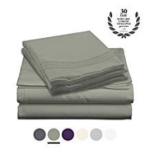 Bamboo Comfort Purity Collection - Bamboo Rayon Bedding - 4 Piece Bed Sheet Set - With Designer Colors and Embroidered Pillowcases (Sage, Queen)