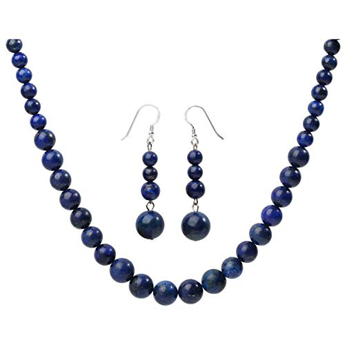 YACQ 925 Sterling Silver Lapis Lazuli Gemstone Necklace Earrings Sets Handcrafted Jewelry for Women (18, Lapis-Lazuli)
