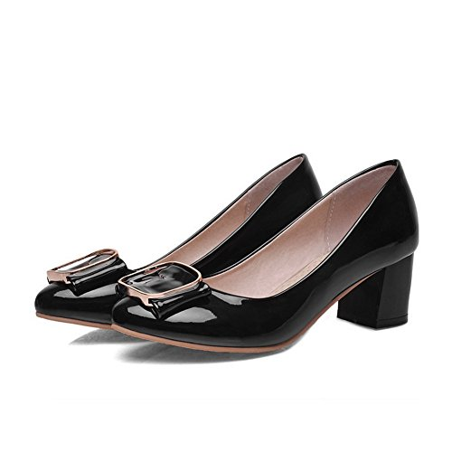 Tacchi Gonfi In Pelle Vernice Amoonyfashion Punta A Punta Chiusa Scarpe-scarpe Nere