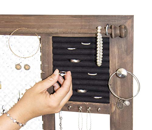 SoCal Buttercup Deluxe Rustic Wood Jewelry Organizer - from Hanging Wall Mounted Wooden Jewelry Display - Organizer for Earrings, Necklaces, Bracelets, Studs, and Accessories by SoCal Buttercup (Image #6)