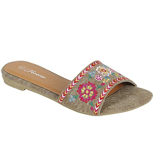 Womens Latest Easy Slip On Style Embroidered Sporty Open Toe Flip Flop Flat Sandals Khaki-a MwDkHWW