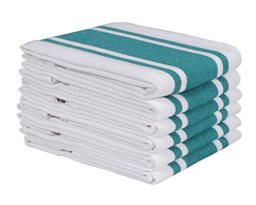 (Heavy Duty Oversized Kitchen Towels & Dishcloth (Set of 6 Teal 18x28) Highly Absorbent, Professional Grade Cotton Tea Towels for Everyday Cooking and Baking- Modern Clean Striped Pattern)
