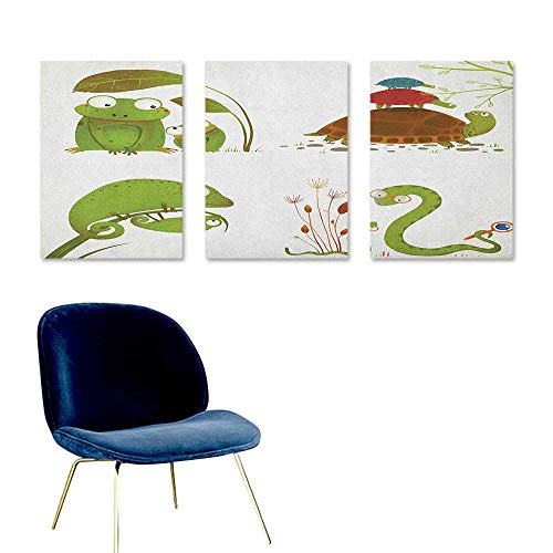 Agoza Reptile Art Oil Painting Reptile Family Colorful Baby Collection Snake Frog Ninja Turtles Love Mother Oil Canvas Painting Wall Art 3 Panels 16x24inch Green Brown Red]()
