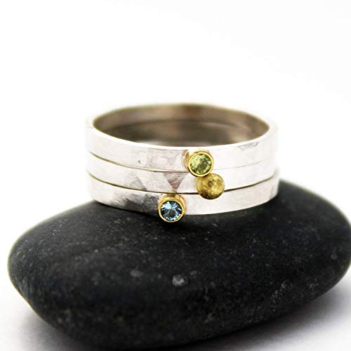 Silver Birthstone Ring. Mixed Metal Silver and Gold Ring. Stacking Gemstone Rings