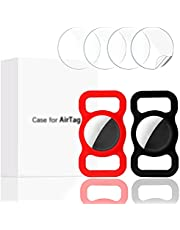 Finyosee 2 Pcs Pet Silicone Protective Case for Apple Airtag GPS Finder Dog Cat Collar Loop, Pet Loop Holder for Air_tag, for Apple Locator Tracker Anti-Lost Device(Black Red)
