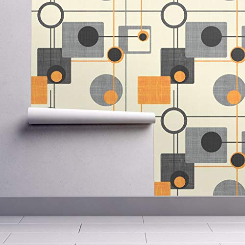 Peel-and-Stick Removable Wallpaper - Mod Mid Century Modern Retro Vintage Geometric Orange Gray Black by Chicca Besso - 12in x 24in Woven Textured Peel-and-Stick Removable Wallpaper Test - Geometric Orange Wallpaper