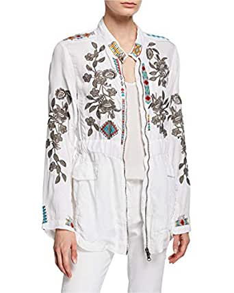 Johnny Was Milton Embroidered Zip-Front Jacket, White, X-Small