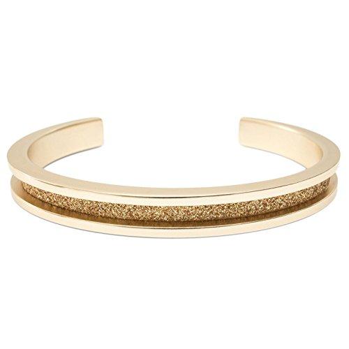 Glitter Design Rose Gold Tone, Glitter, Nickel Free Aluminum Fashion Cuff Hair Tie Bracelet