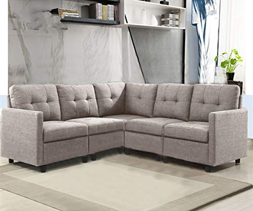 OuchTek 5-Piece Modular Sectional Sofas, Small Space Living Room Furniture Decoration-Grey