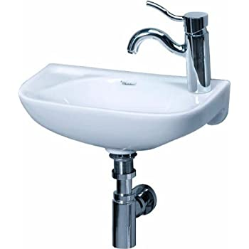 Whitehaus WH1 102R WH Isabella 16 1/4 Inch Small Wall Mount Lavatory Basin  With Center Drain And Right Hand Faucet Drilling, White