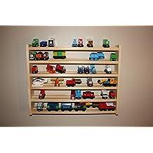Train Rack Ultimate - Thomas Train Wooden Storage Display Wall Rack Shelf Play Table Accessory Case for Brio Chuggington Melissa and Doug