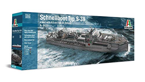 Italeri 5620 German WWII Schnellboot S-38 Torpedo Boat (S-Boot), Armed with 4 cm Flak 28 (Bofors) - Fully Upgraded Moulds 1/35 Scale Model Kit