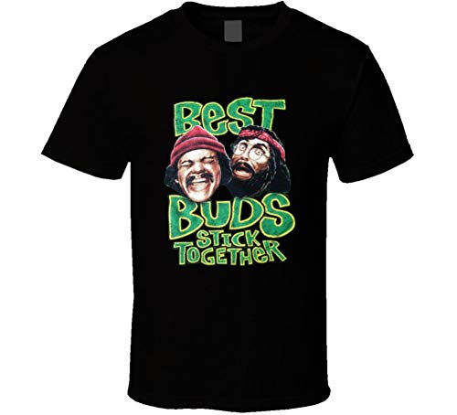 Best Buds Stick Together Funny Cheech and Chong Stoner Movie Fan T Shirt L Black (Best Buds Stick Together Shirt)