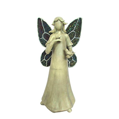 HomeView Design Antique Washed Standing Fairy with Mosaic Wings and Birds on Hands Figure, 19.5""