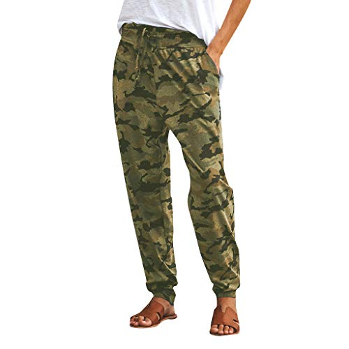 Botrong Pants for Women Camouflage Printed Casual Sports Long Pants with Drawstring (Army Green,L) ()