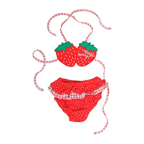 BUNNIEE Baby Girls Two Piece Swimsuits, Quick Dry Toddler Swimwear Strawberry Summer Outfit for Beach 0-3 Years