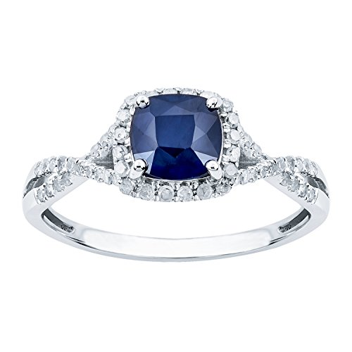 10k Rhodium-Plated White Gold Genuine Cushion Sapphire and Diamond Halo Ring by Instagems