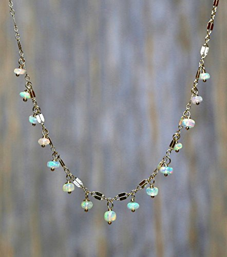 Real Genuine Welo Opal Gemstone Choker Necklace -Yellow Gold - 15
