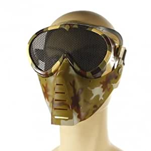 Airsoft Games Full Face Mask Nose Eyes Protector Safety Mesh Guard --- Color:Black