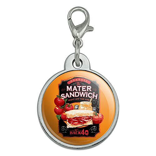 GRAPHICS & MORE Back 40 Classic Tomato Mater Sandwich Right Off The Vine Farm Farming Chrome Plated Metal Pet Dog Cat ID Tag - Small