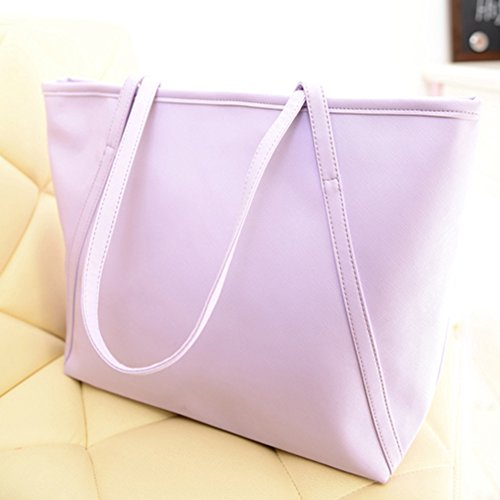 Shoulder Women Leather Color Bag Solid Black dragonaur Zipper Big Faux size Handbag Purple Big Tote dTxqwwEIz