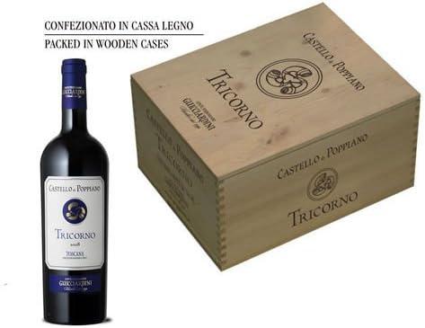 Tricorno Vino Rosso I.G.T. Toscana Castello di Poppiano - vino tinto italiano (6 botellas 75 cl en caja de madera): Amazon.es: Alimentación y bebidas