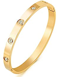 Jewelry 18 K Gold Plated Bangle Bracelet CZ Stone Hinged Stainless Steel with Crystal Bangle for Women Size 6.7 Inches