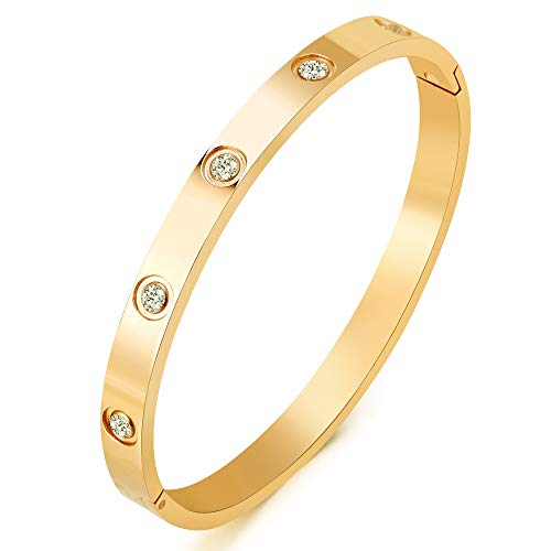Cartier Jewelry Inspired (MVCOLEDY Jewelry 18 K Gold Plated Bangle Bracelet CZ Stone Hinged Stainless Steel with Crystal Bangle for Women Size 6.7 Inches)