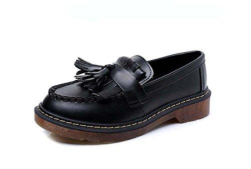 Pump Loafer 4cm Thick bottem borla deslizamiento en los zapatos ocasionales mujeres redondas dedo del pie Bowknot puro corte...