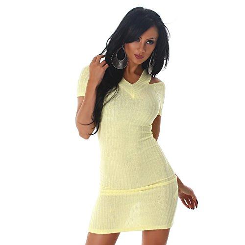 Jela London Damen Kleid Träger V-Ausschnitt Stretch Feinstrick Strickkleid Kurzarm Schulterfrei Etui Abend Gelb N4gPFh3