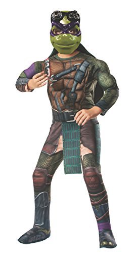 [Rubies Teenage Mutant Ninja Turtles Deluxe Muscle-Chest Donatello Costume, Child Small] (Ninja Turtle Costumes Boys)