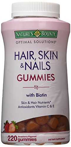 Nature's Bounty Optimal Solutions Hair, Skin and Nails Gummies 220 Count With Biotin Strawberry Flavored - Nature Bounty Skin Hair Nails