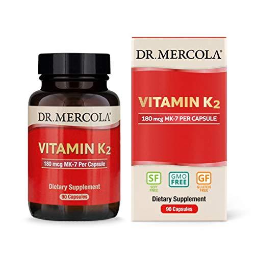 Dr. Mercola, Vitamin K2, 90 Servings (90 Capsules) Non GMO, Soy-Free, Gluten-Free ()