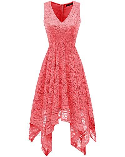 Bridesmay Women's Elegant V-Neck Sleeveless Asymmetrical Handkerchief Hem Floral Lace Cocktail Party Dress Coral S