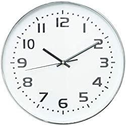 Relógio de Parede Plástico Standart Numbers Urban Branco/Prata