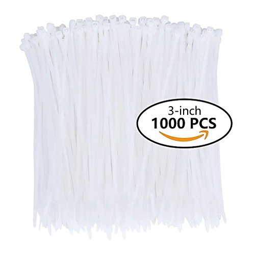 Nylon Zip Ties (1000pcs) 3 Inch with Self Locking Cable Ties in White - 2 Piece Pierced Lighting