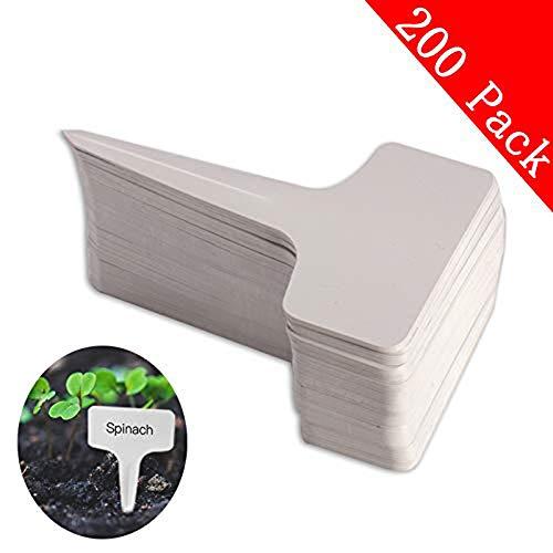 200pcs T-type PVC Waterproof T Tag Plant Markers - Premium Nursery Garden Labels - Eco Friendly - Greyish White (6 x 10cm)