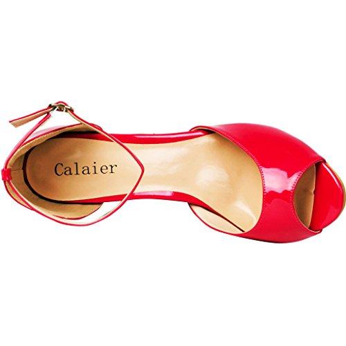Pour Red Sandales Cajoin Calaier Femme WfTXwSnRxq