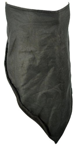 Black Cotton 3 in 1 Fleece Lined Facemask Bandana (Lined Bandana Fleece)